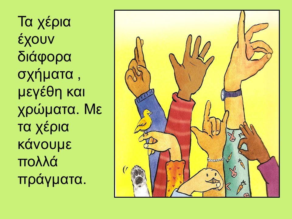Τα χέρια έχουν διάφορα σχήματα, μεγέθη και χρώματα. Με τα χέρια κάνουμε πολλά πράγματα.