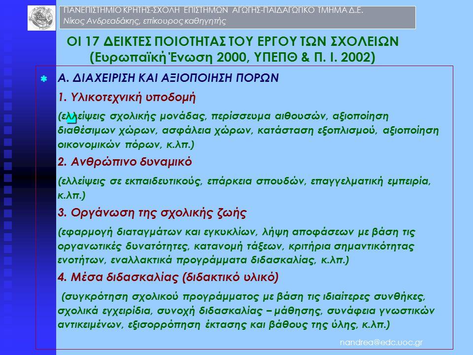 ΟΙ 17 ΔΕΙΚΤΕΣ ΠΟΙΟΤΗΤΑΣ ΤΟΥ ΕΡΓΟΥ ΤΩΝ ΣΧΟΛΕΙΩΝ (Ευρωπαϊκή Ένωση 2000, ΥΠΕΠΘ & Π.