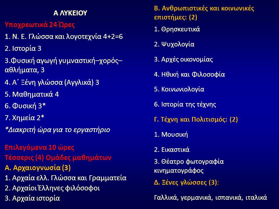 Α ΛΥΚΕΙΟΥ Υποχρεωτικά 24 Ώρες 1. Ν. Ε. Γλώσσα και λογοτεχνία 4+2=6 2. Ιστορία 3 3.Φυσική αγωγή γυμναστική–χορός– αθλήματα, 3 4. Α΄ Ξένη γλώσσα (Αγγλικ
