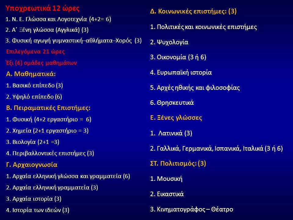 Υποχρεωτικά 12 ώρες 1. Ν. Ε. Γλώσσα και Λογοτεχνία (4+2= 6) 2. Α΄ Ξένη γλώσσα (Αγγλικά) (3) 3. Φυσική αγωγή γυμναστική–αθλήματα–Χορός (3) Επιλεγόμενα