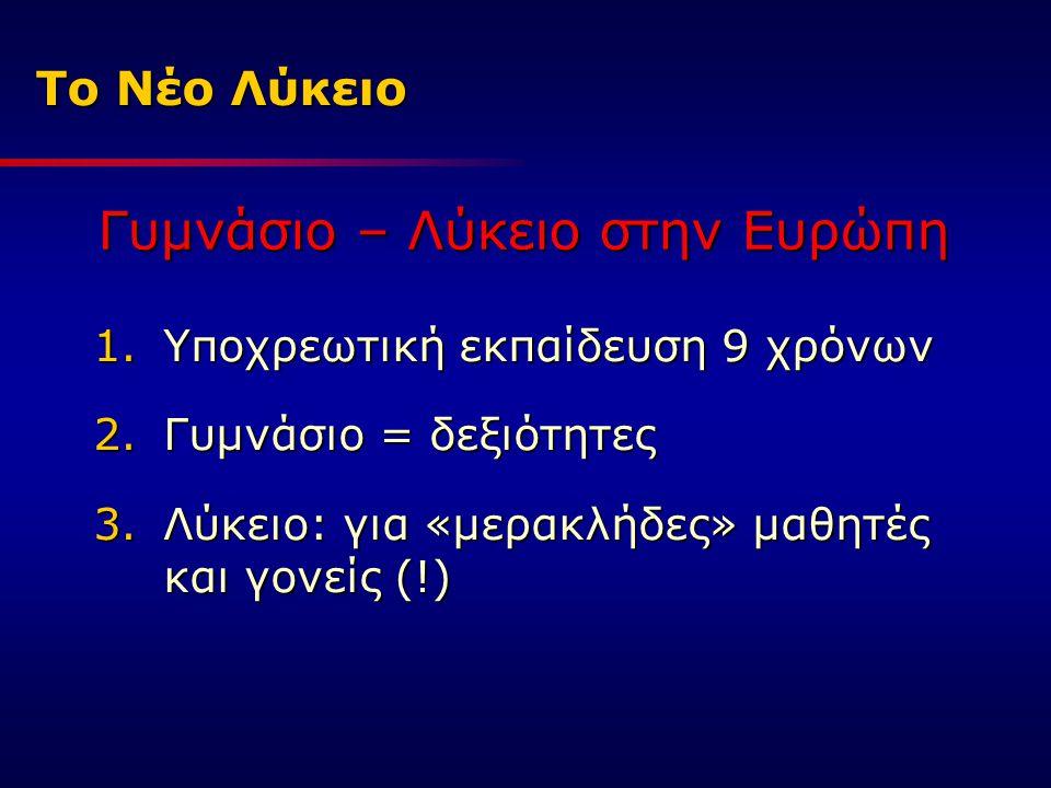Το Νέο Λύκειο 1.Υποχρεωτική εκπαίδευση 9 χρόνων 2.Γυμνάσιο = δεξιότητες 3.Λύκειο: για «μερακλήδες» μαθητές και γονείς (!) Γυμνάσιο – Λύκειο στην Ευρώπ