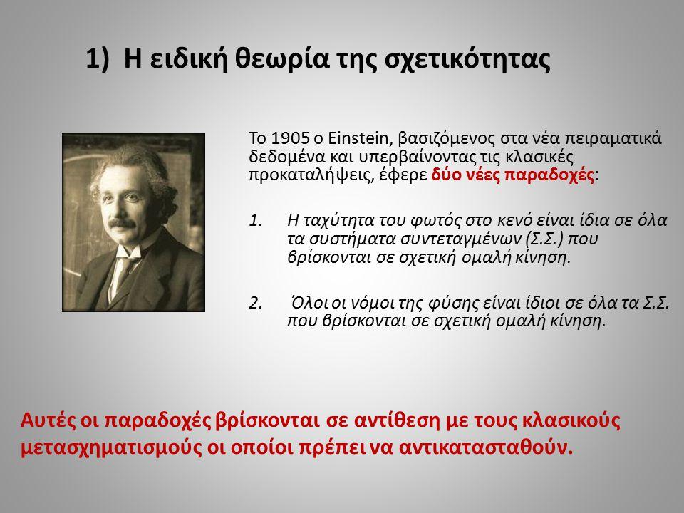 Το 1905 ο Einstein, βασιζόμενος στα νέα πειραματικά δεδομένα και υπερβαίνοντας τις κλασικές προκαταλήψεις, έφερε δύο νέες παραδοχές: 1.Η ταχύτητα του
