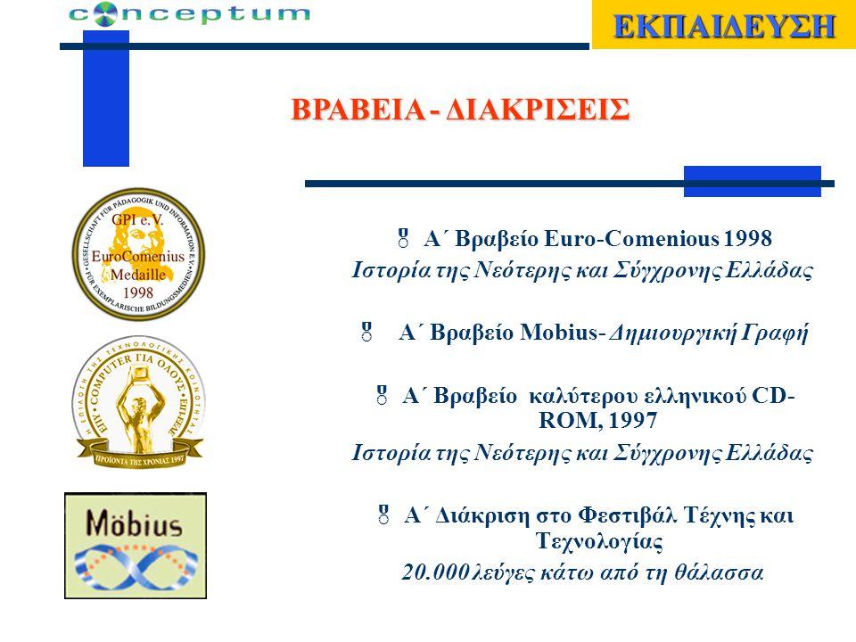 ΕΚΠΑΙΔΕΥΣΗ ΒΡΑΒΕΙΑ - ΔΙΑΚΡΙΣΕΙΣ  Α΄ Βραβείο Euro-Comenious 1998 Ιστορία της Νεότερης και Σύγχρονης Ελλάδας  Α΄ Βραβείο Μobius- Δημιουργική Γραφή  Α΄ Βραβείο καλύτερου ελληνικού CD- ROM, 1997 Ιστορία της Νεότερης και Σύγχρονης Ελλάδας  Α΄ Διάκριση στο Φεστιβάλ Τέχνης και Τεχνολογίας 20.000 λεύγες κάτω από τη θάλασσα