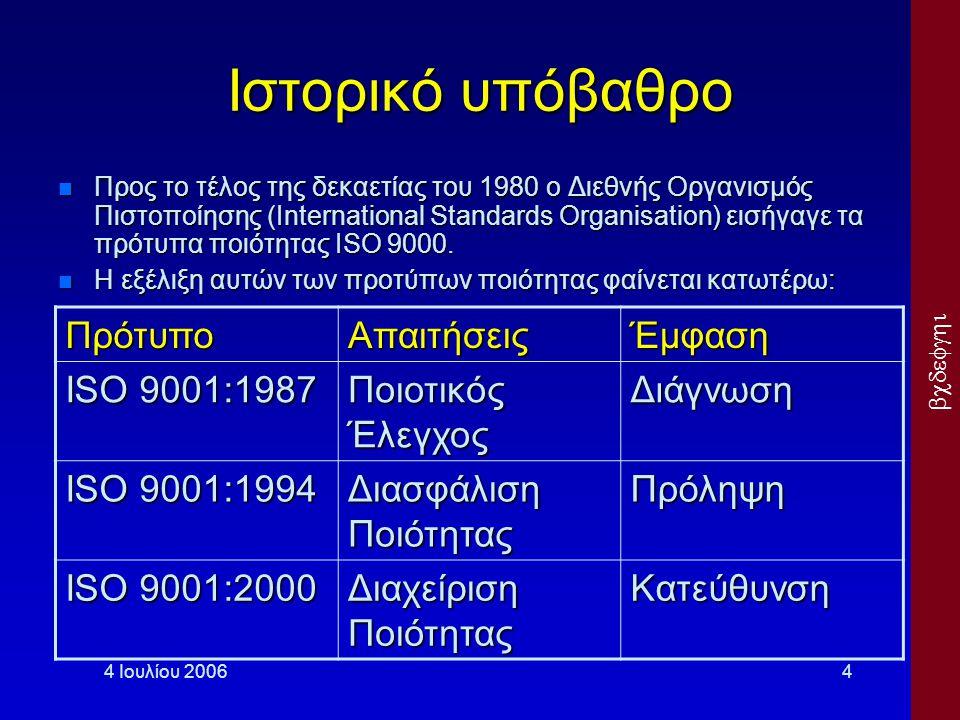  4 Ιουλίου 20064 Ιστορικό υπόβαθρο Προς το τέλος της δεκαετίας του 1980 ο Διεθνής Οργανισμός Πιστοποίησης (International Standards Organisatio