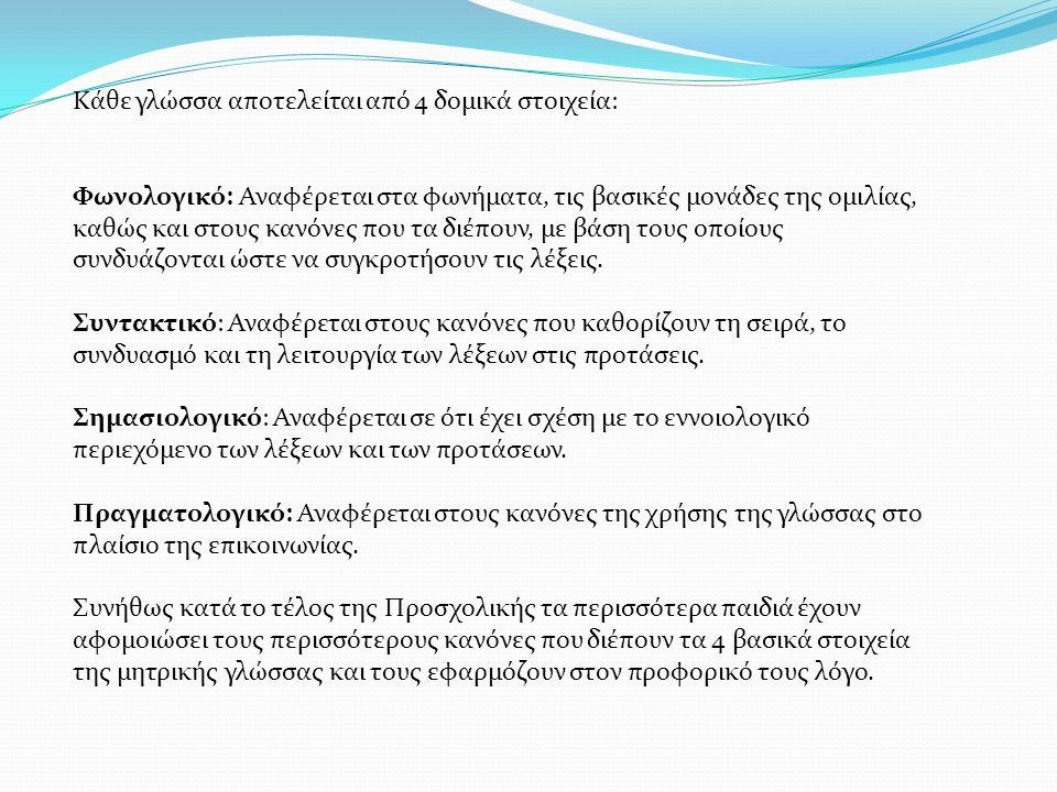 Κάθε γλώσσα αποτελείται από 4 δομικά στοιχεία: Φωνολογικό: Αναφέρεται στα φωνήματα, τις βασικές μονάδες της ομιλίας, καθώς και στους κανόνες που τα δι
