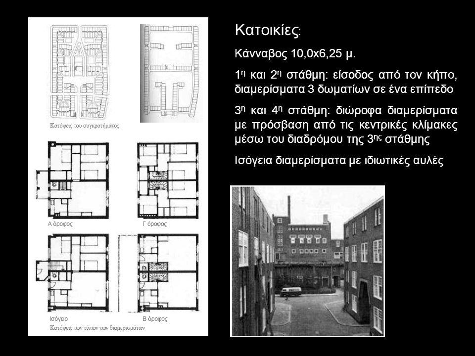 Κατοικίες : Κάνναβος 10,0x6,25 μ. 1 η και 2 η στάθμη: είσοδος από τον κήπο, διαμερίσματα 3 δωματίων σε ένα επίπεδο 3 η και 4 η στάθμη: διώροφα διαμερί