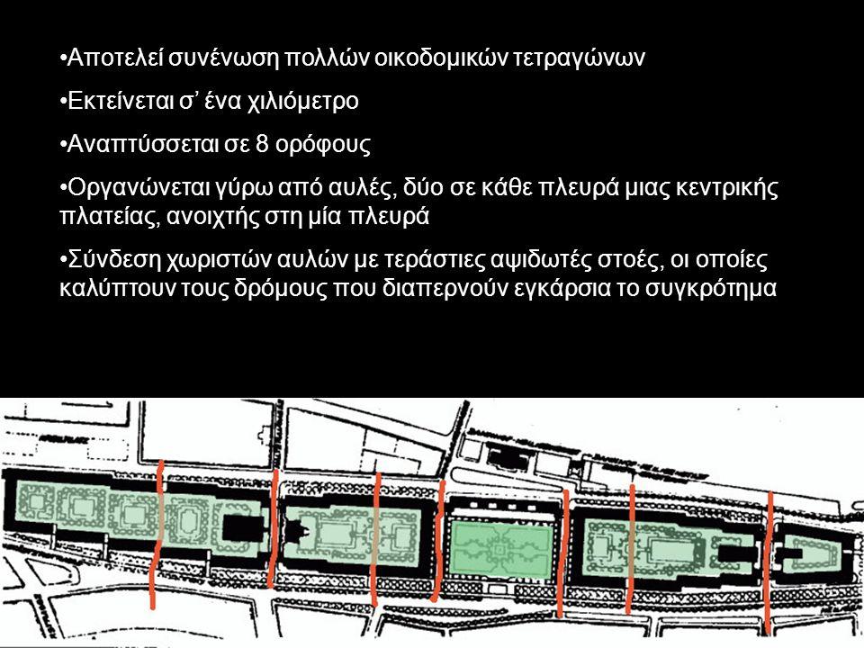 Αποτελεί συνένωση πολλών οικοδομικών τετραγώνων Εκτείνεται σ' ένα χιλιόμετρο Αναπτύσσεται σε 8 ορόφους Οργανώνεται γύρω από αυλές, δύο σε κάθε πλευρά μιας κεντρικής πλατείας, ανοιχτής στη μία πλευρά Σύνδεση χωριστών αυλών με τεράστιες αψιδωτές στοές, οι οποίες καλύπτουν τους δρόμους που διαπερνούν εγκάρσια το συγκρότημα