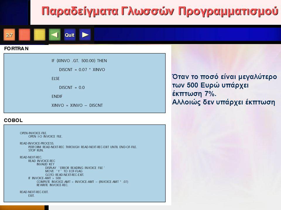 Quit 2.7 Παραδείγματα Γλωσσών Προγραμματισμού Όταν το ποσό είναι μεγαλύτερο των 500 Ευρώ υπάρχει έκπτωση 7%.