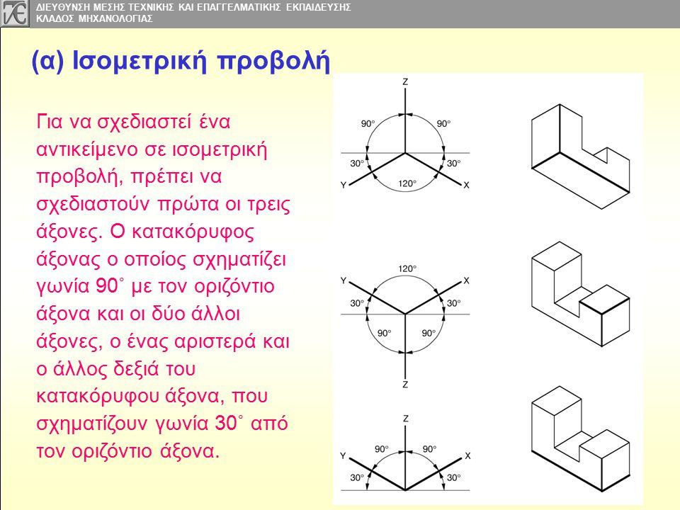 ΔΙΕΥΘΥΝΣΗ ΜΕΣΗΣ ΤΕΧΝΙΚΗΣ ΚΑΙ ΕΠΑΓΓΕΛΜΑΤΙΚΗΣ ΕΚΠΑΙΔΕΥΣΗΣ ΚΛΑΔΟΣ MΗΧΑΝΟΛΟΓΙΑΣ (α) Ισομετρική προβολή Για να σχεδιαστεί ένα αντικείμενο σε ισομετρική προβολή, πρέπει να σχεδιαστούν πρώτα οι τρεις άξονες.