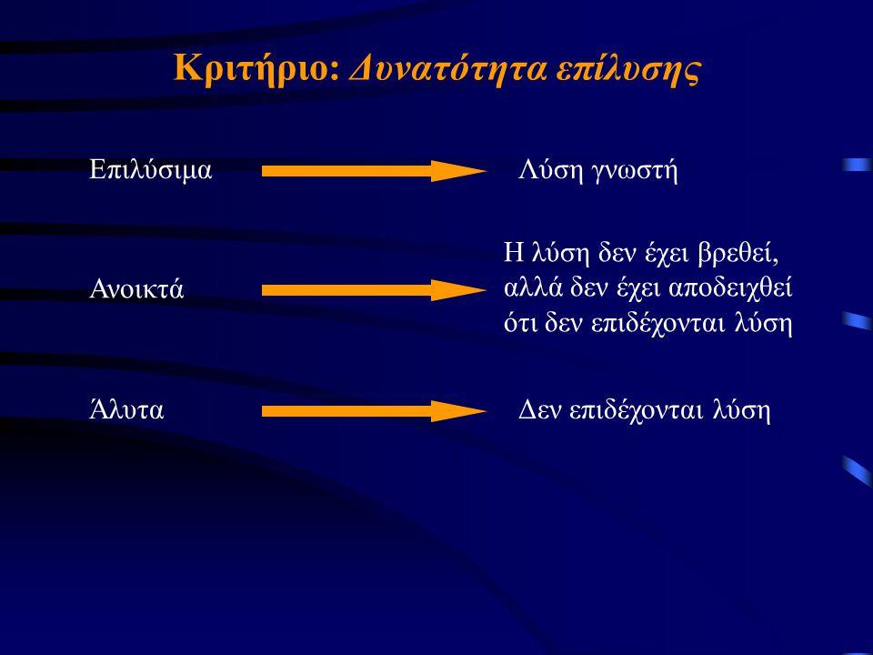 Κριτήριο: Δυνατότητα επίλυσης ΕπιλύσιμαΛύση γνωστή Ανοικτά Η λύση δεν έχει βρεθεί, αλλά δεν έχει αποδειχθεί ότι δεν επιδέχονται λύση ΆλυταΔεν επιδέχονται λύση
