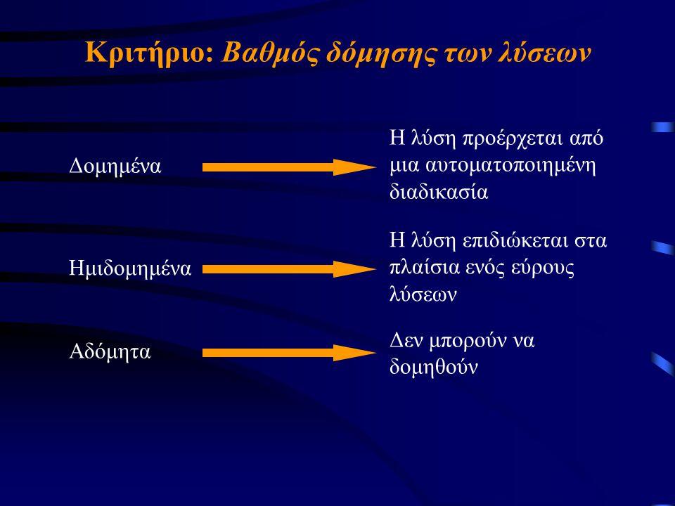 Κριτήριο: Βαθμός δόμησης των λύσεων Δομημένα Η λύση προέρχεται από μια αυτοματοποιημένη διαδικασία Ημιδομημένα Η λύση επιδιώκεται στα πλαίσια ενός εύρους λύσεων Αδόμητα Δεν μπορούν να δομηθούν