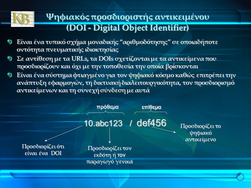 10 Ψηφιακός προσδιοριστής αντικειμένου (DOI - Digital Object Identifier) Είναι ένα τυπικό σχήμα μοναδικής αριθμοδότησης σε οποιαδήποτε οντότητα πνευματικής ιδιοκτησίας Σε αντίθεση με τα URLs, τα DOIs σχετίζονται με τα αντικείμενα που προσδιορίζουν και όχι με την τοποθεσία την οποία βρίσκονται Είναι ένα σύστημα φτιαγμένο για τον ψηφιακό κόσμο καθώς επιτρέπει την ανάπτυξη εφαρμογών, τη δικτυακή διαλειτουργικότητα, τον προσδιορισμό αντικείμενων και τη συνεχή σύνδεση με αυτά Προσδιορίζει ότι είναι ένα DOI Προσδιορίζει τον εκδότη ή τον παραγωγό γενικά 10.abc123 / def456 Προσδιορίζει το ψηφιακό αντικείμενο πρόθεμαεπίθεμα