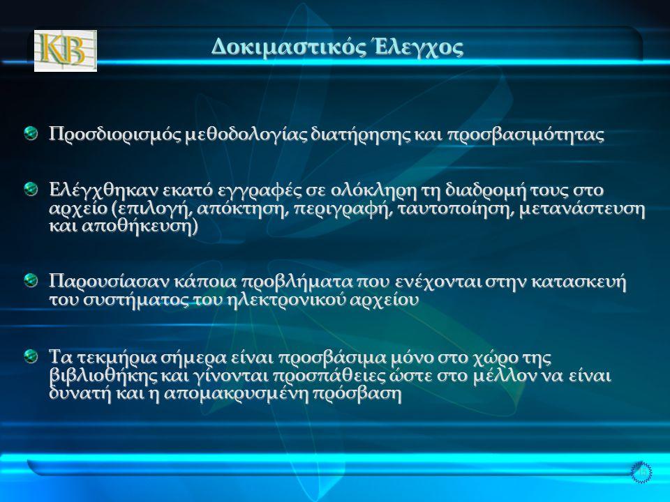 15 Δοκιμαστικός Έλεγχος Προσδιορισμός μεθοδολογίας διατήρησης και προσβασιμότητας Ελέγχθηκαν εκατό εγγραφές σε ολόκληρη τη διαδρομή τους στο αρχείο (επιλογή, απόκτηση, περιγραφή, ταυτοποίηση, μετανάστευση και αποθήκευση) Παρουσίασαν κάποια προβλήματα που ενέχονται στην κατασκευή του συστήματος του ηλεκτρονικού αρχείου Τα τεκμήρια σήμερα είναι προσβάσιμα μόνο στο χώρο της βιβλιοθήκης και γίνονται προσπάθειες ώστε στο μέλλον να είναι δυνατή και η απομακρυσμένη πρόσβαση