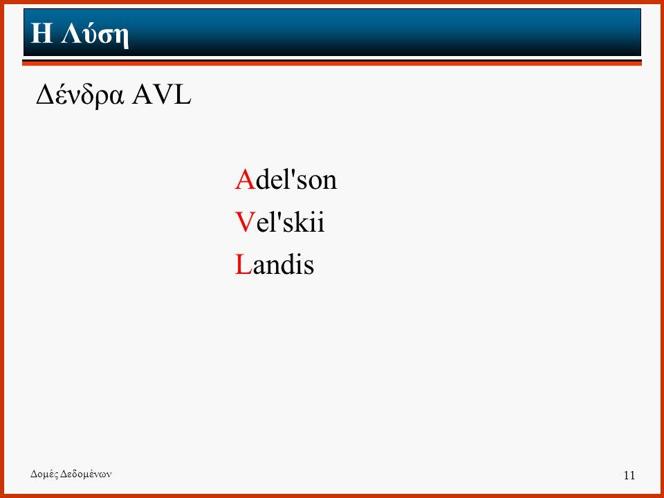 Δομές Δεδομένων 11 Η Λύση Δένδρα AVL Adel'son Vel'skii Landis