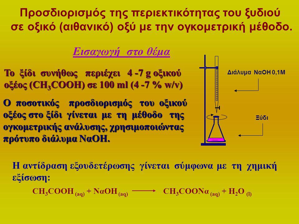 Προσδιορισμός της περιεκτικότητας του ξυδιού σε οξικό (αιθανικό) οξύ με την ογκομετρική μέθοδο. Εισαγωγή στο θέμα Το ξίδι συνήθως περιέχει 4 -7 g οξικ