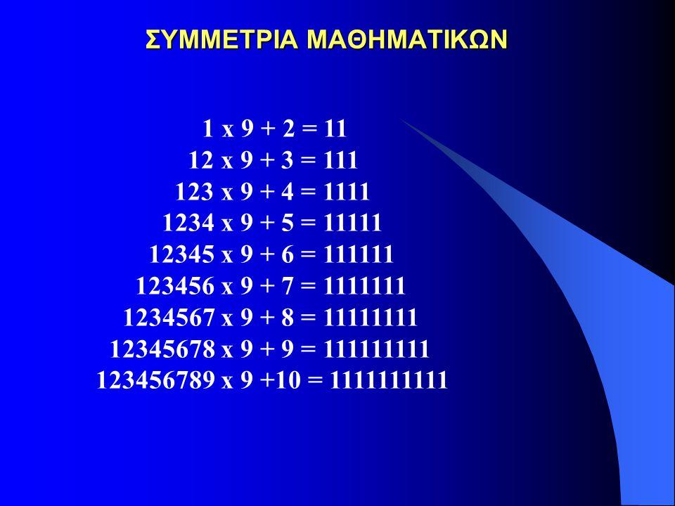 ΣΥΜΜΕΤΡΙΑ ΜΑΘΗΜΑΤΙΚΩΝ ΣΥΜΜΕΤΡΙΑ ΜΑΘΗΜΑΤΙΚΩΝ 1 x 9 + 2 = 11 12 x 9 + 3 = 111 123 x 9 + 4 = 1111 1234 x 9 + 5 = 11111 12345 x 9 + 6 = 111111 123456 x 9