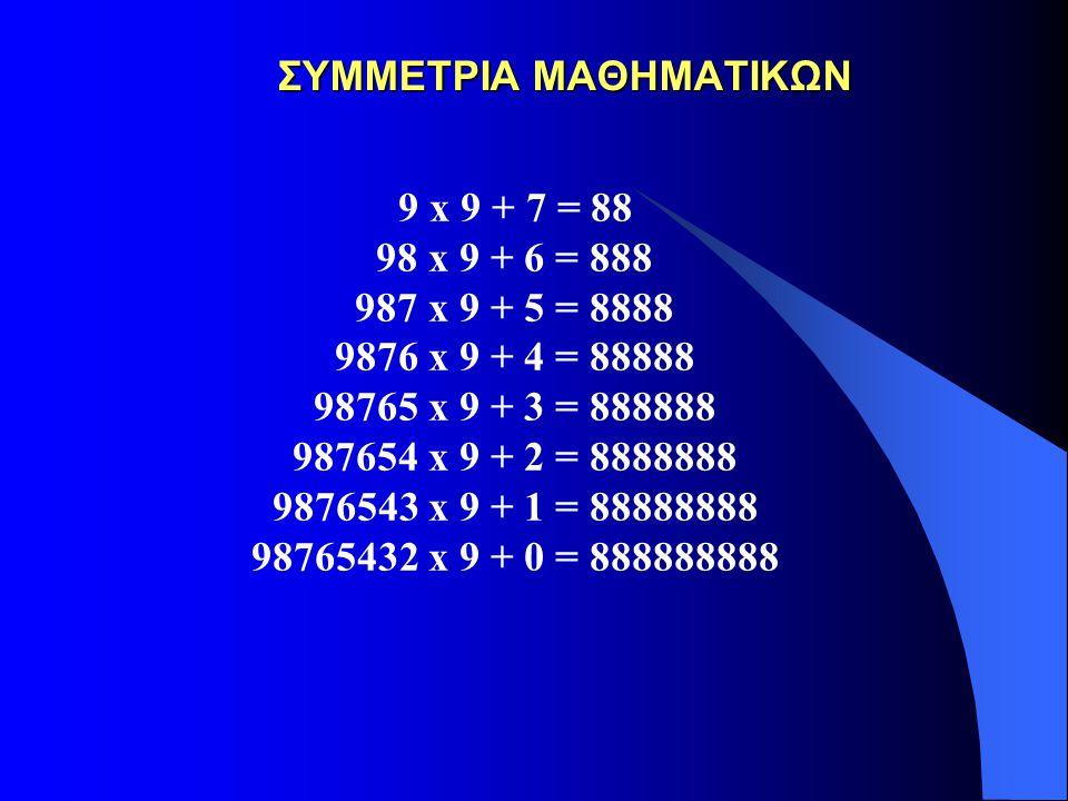 ΣΥΜΜΕΤΡΙΑ ΜΑΘΗΜΑΤΙΚΩΝ ΣΥΜΜΕΤΡΙΑ ΜΑΘΗΜΑΤΙΚΩΝ 9 x 9 + 7 = 88 98 x 9 + 6 = 888 987 x 9 + 5 = 8888 9876 x 9 + 4 = 88888 98765 x 9 + 3 = 888888 987654 x 9