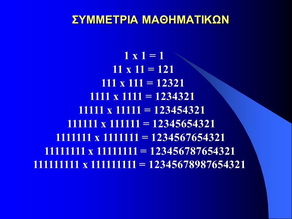 ΣΥΜΜΕΤΡΙΑ ΜΑΘΗΜΑΤΙΚΩΝ ΣΥΜΜΕΤΡΙΑ ΜΑΘΗΜΑΤΙΚΩΝ 1 x 1 = 1 11 x 11 = 121 111 x 111 = 12321 1111 x 1111 = 1234321 11111 x 11111 = 123454321 111111 x 111111