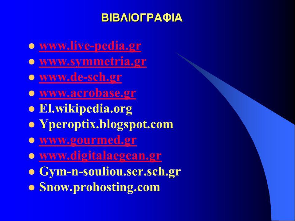 ΒΙΒΛΙΟΓΡΑΦΙΑ ΒΙΒΛΙΟΓΡΑΦΙΑ www.live-pedia.gr www.symmetria.gr www.de-sch.gr www.acrobase.gr El.wikipedia.org Yperoptix.blogspot.com www.gourmed.gr www.
