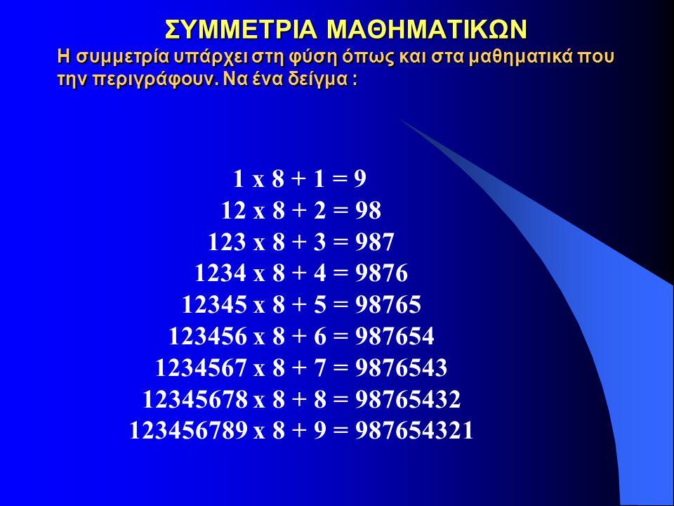 ΣΥΜΜΕΤΡΙΑ ΜΑΘΗΜΑΤΙΚΩΝ Η συμμετρία υπάρχει στη φύση όπως και στα μαθηματικά που την περιγράφουν. Να ένα δείγμα : ΣΥΜΜΕΤΡΙΑ ΜΑΘΗΜΑΤΙΚΩΝ Η συμμετρία υπάρ