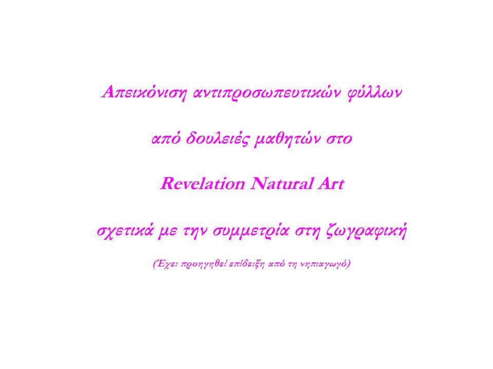 Απεικόνιση αντιπροσωπευτικών φύλλων από δουλειές μαθητών στο Revelation Natural Art σχετικά με την συμμετρία στη ζωγραφική (Έχει προηγηθεί επίδειξη από τη νηπιαγωγό)