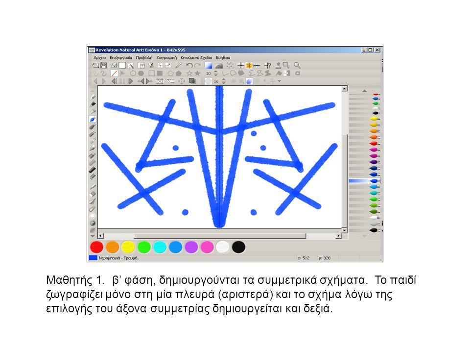 Μαθητής 1. β' φάση, δημιουργούνται τα συμμετρικά σχήματα. Το παιδί ζωγραφίζει μόνο στη μία πλευρά (αριστερά) και το σχήμα λόγω της επιλογής του άξονα