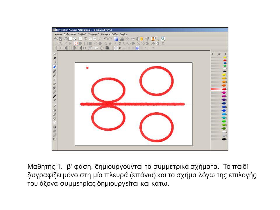 Μαθητής 1. β' φάση, δημιουργούνται τα συμμετρικά σχήματα. Το παιδί ζωγραφίζει μόνο στη μία πλευρά (επάνω) και το σχήμα λόγω της επιλογής του άξονα συμ
