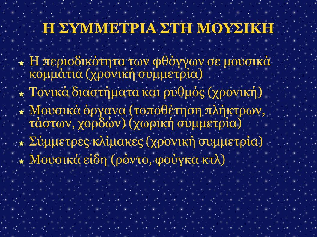 Η ΣΥΜΜΕΤΡΙΑ ΣΤΗ ΛΟΓΟΤΕΧΝΙΑ Στιχουργική – μετρική (ίαμβος, ανάπεστος κτλ) (χρονική συμμετρία)  Επαναλήψεις λέξεων ή φράσεων μέσα σε ένα κείμενο ή ποίημα (χωρική συμμετρία)  Θεατρικά κείμενα (χωροχρονική συμμετρία) 