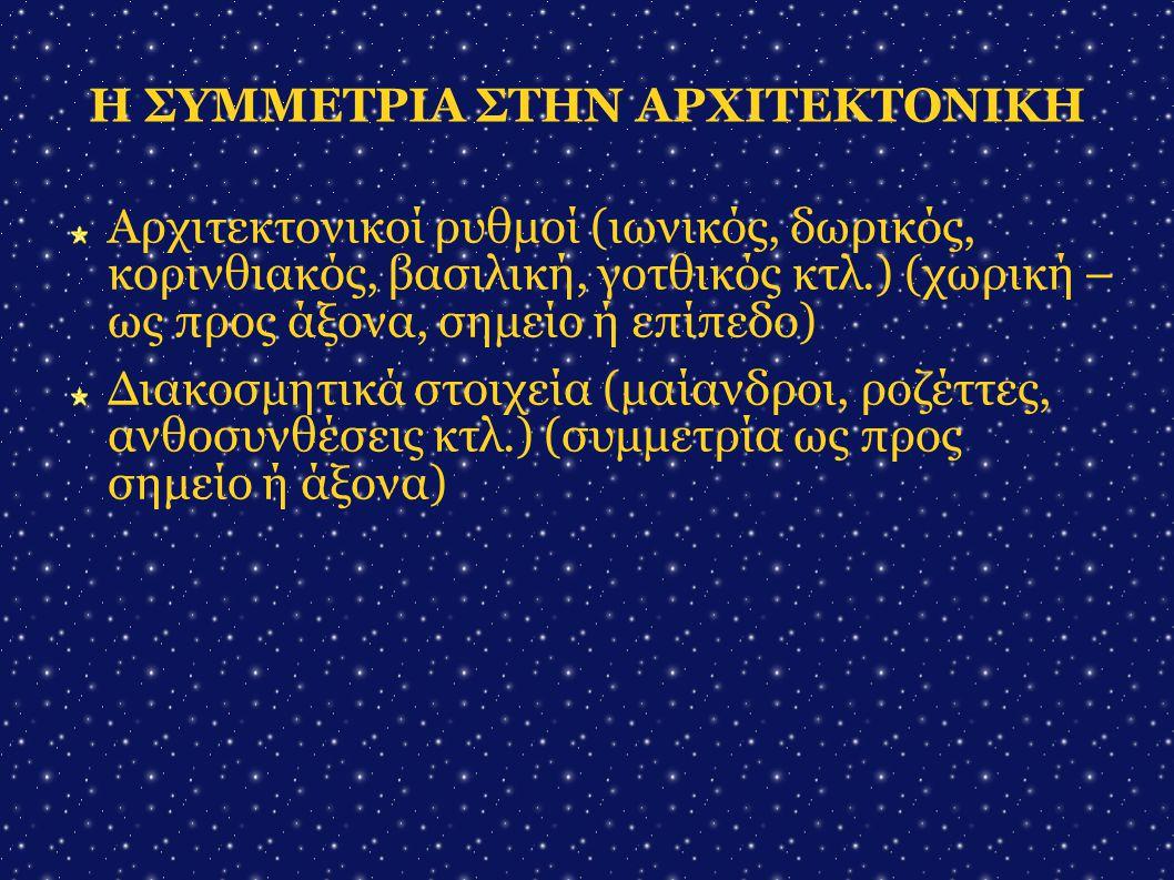 Η ΣΥΜΜΕΤΡΙΑ ΣΤΗΝ ΑΡΧΙΤΕΚΤΟΝΙΚΗ Αρχιτεκτονικοί ρυθμοί (ιωνικός, δωρικός, κορινθιακός, βασιλική, γοτθικός κτλ.) (χωρική – ως προς άξονα, σημείο ή επίπεδ