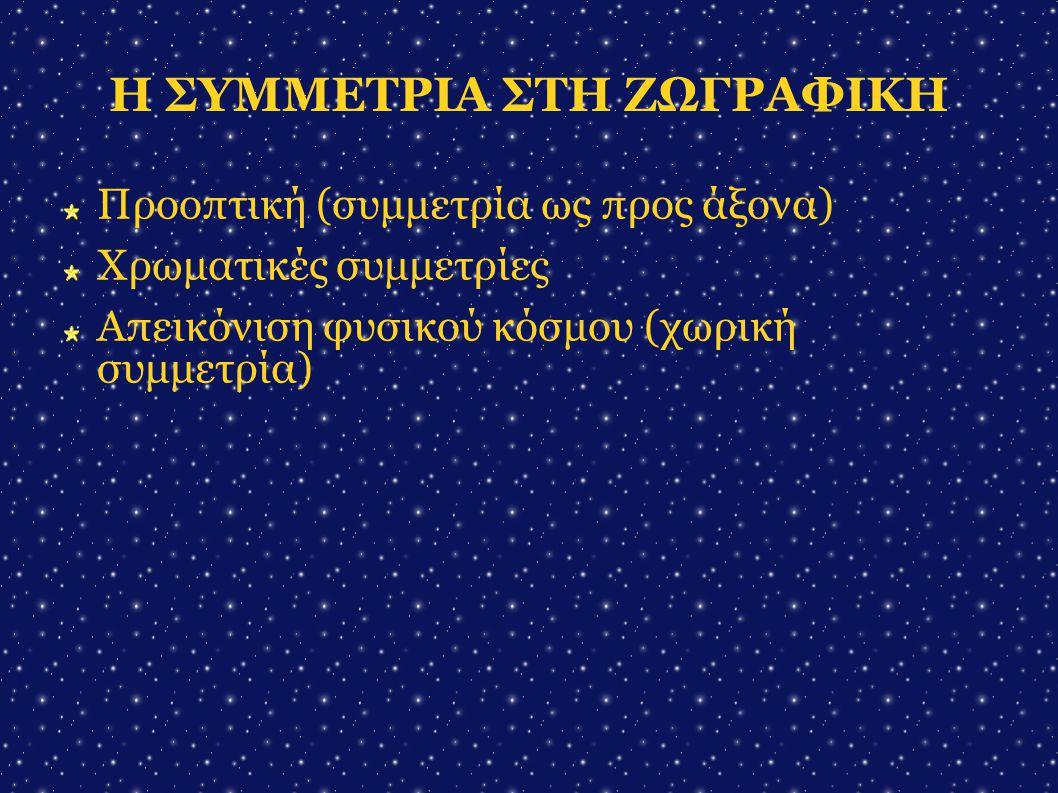 Η ΣΥΜΜΕΤΡΙΑ ΣΤΗ ΖΩΓΡΑΦΙΚΗ Προοπτική (συμμετρία ως προς άξονα)  Χρωματικές συμμετρίες Απεικόνιση φυσικού κόσμου (χωρική συμμετρία) 