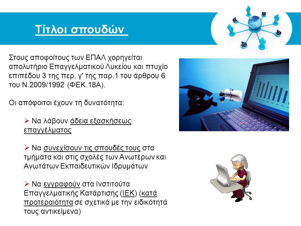 Free Powerpoint Templates Τίτλοι σπουδών Στους αποφοίτους των ΕΠΑΛ χορηγείται απολυτήριο Επαγγελματικού Λυκείου και πτυχίο επιπέδου 3 της περ. γ' της