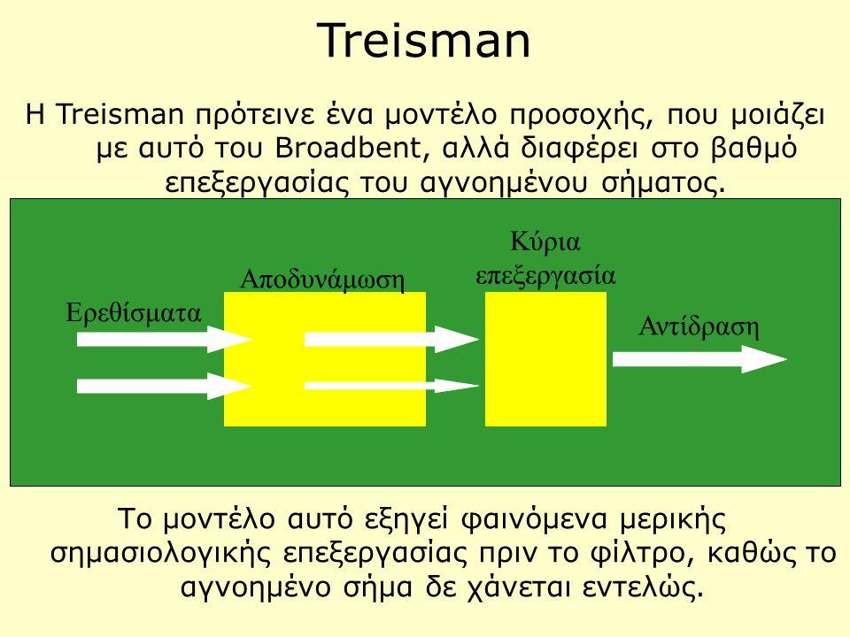 Treisman Η Treisman πρότεινε ένα μοντέλο προσοχής, που μοιάζει με αυτό του Broadbent, αλλά διαφέρει στο βαθμό επεξεργασίας του αγνοημένου σήματος. Ερε