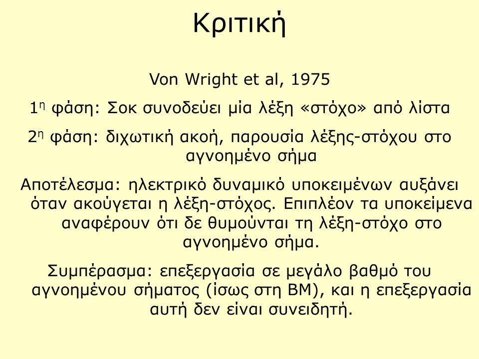 Κριτική Von Wright et al, 1975 1 η φάση: Σοκ συνοδεύει μία λέξη «στόχο» από λίστα 2 η φάση: διχωτική ακοή, παρουσία λέξης-στόχου στο αγνοημένο σήμα Απ