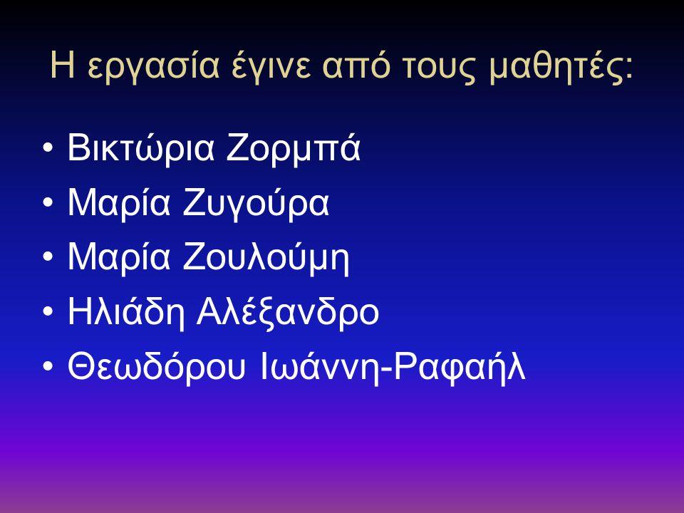 Η εργασία έγινε από τους μαθητές: Βικτώρια Ζορμπά Μαρία Ζυγούρα Μαρία Ζουλούμη Ηλιάδη Αλέξανδρο Θεωδόρου Ιωάννη-Ραφαήλ
