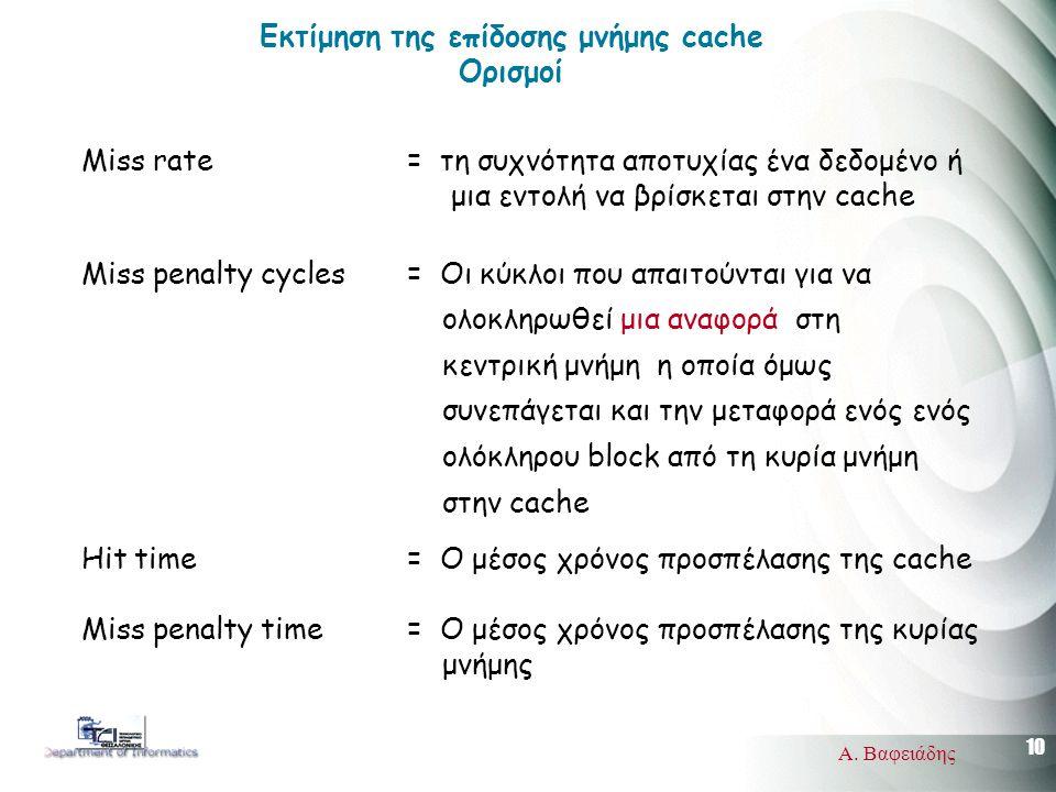 10 Α. Βαφειάδης Miss rate = τη συχνότητα αποτυχίας ένα δεδομένο ή μια εντολή να βρίσκεται στην cache Miss penalty cycles = Οι κύκλοι που απαιτούνται γ