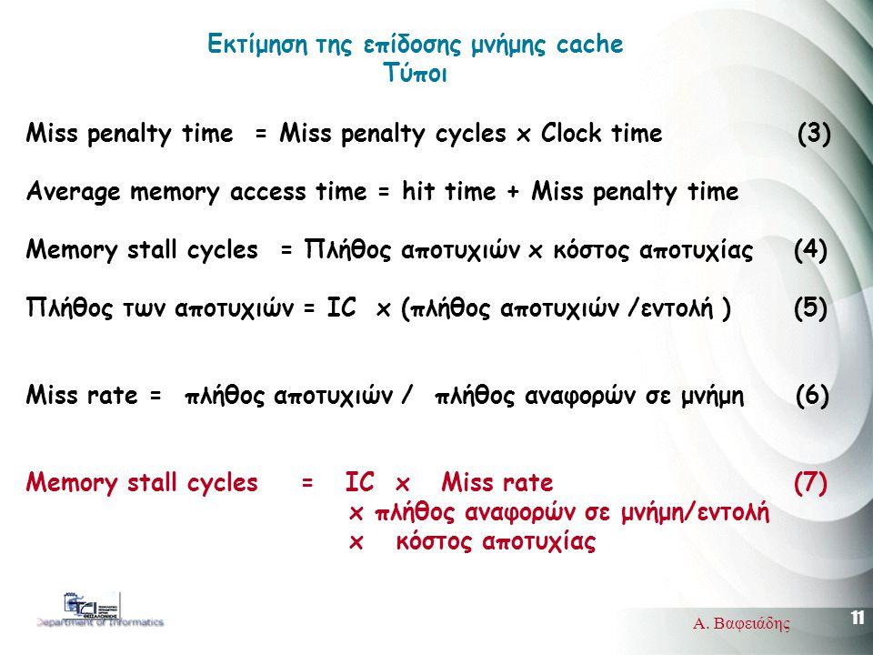 11 Α. Βαφειάδης Miss penalty time = Miss penalty cycles x Clock time (3) Average memory access time = hit time + Miss penalty time Memory stall cycles