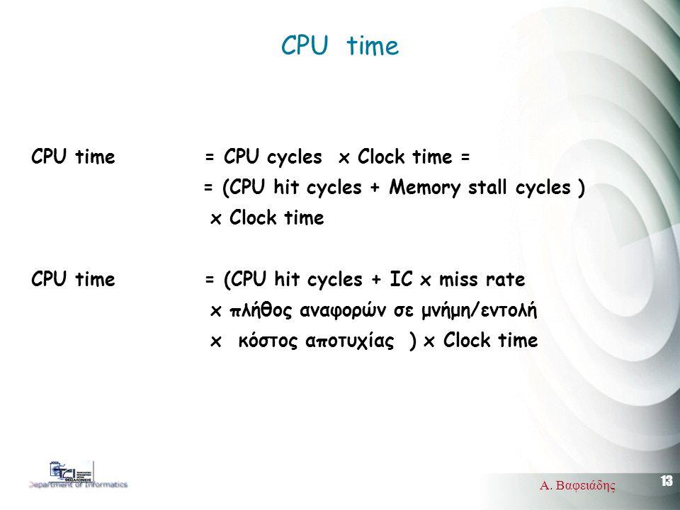 13 Α. Βαφειάδης CPU time CPU time = CPU cycles x Clock time = = (CPU hit cycles + Memory stall cycles ) x Clock time CPU time = (CPU hit cycles + ΙC x