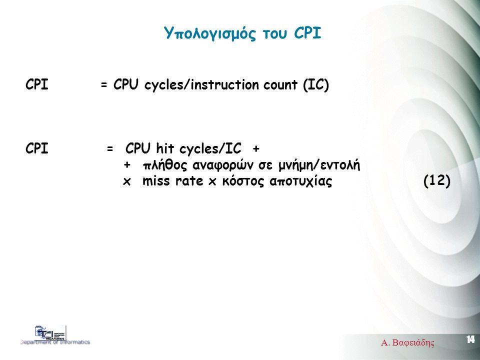 14 Α. Βαφειάδης Υπολογισμός του CPI CPI = CPU cycles/instruction count (IC) CPI = CPU hit cycles/IC + + πλήθος αναφορών σε μνήμη/εντολή x miss rate x