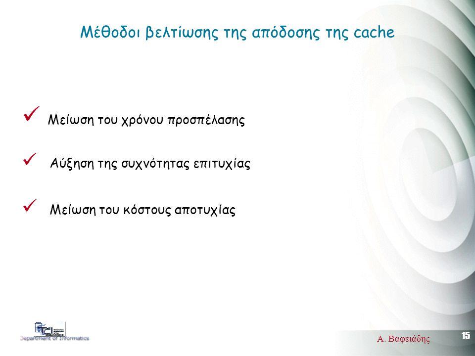 15 Α. Βαφειάδης Μέθοδοι βελτίωσης της απόδοσης της cache Μείωση του χρόνου προσπέλασης Αύξηση της συχνότητας επιτυχίας Μείωση του κόστους αποτυχίας
