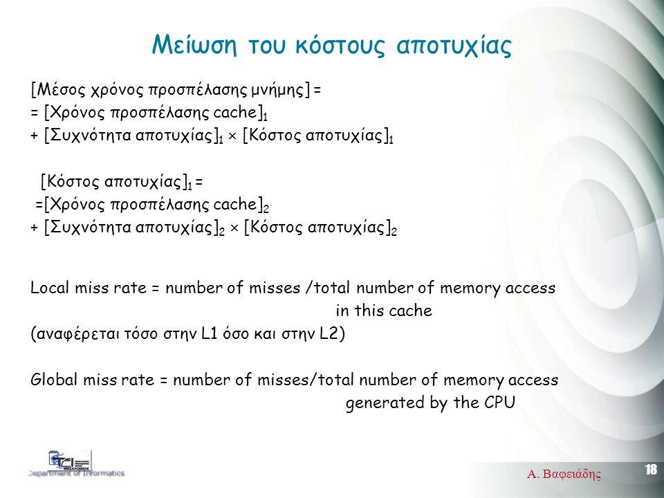 18 Α. Βαφειάδης Μείωση του κόστους αποτυχίας [Μέσος χρόνος προσπέλασης μνήμης] = = [Χρόνος προσπέλασης cache] 1 + [Συχνότητα αποτυχίας] 1  [Κόστος απ