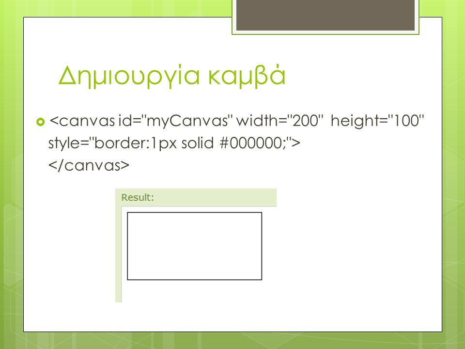 Δημιουργία καμβά  <canvas id= myCanvas width= 200 height= 100 style= border:1px solid #000000; >