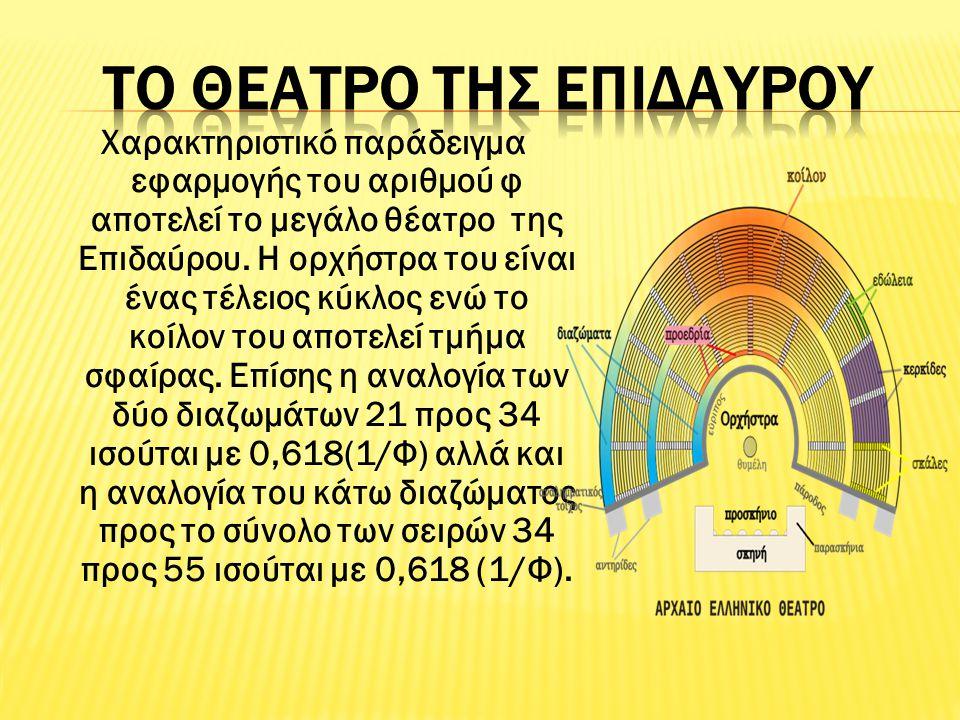 Χαρακτηριστικό παράδειγμα εφαρμογής του αριθμού φ αποτελεί το μεγάλο θέατρο της Επιδαύρου. Η ορχήστρα του είναι ένας τέλειος κύκλος ενώ το κοίλον του