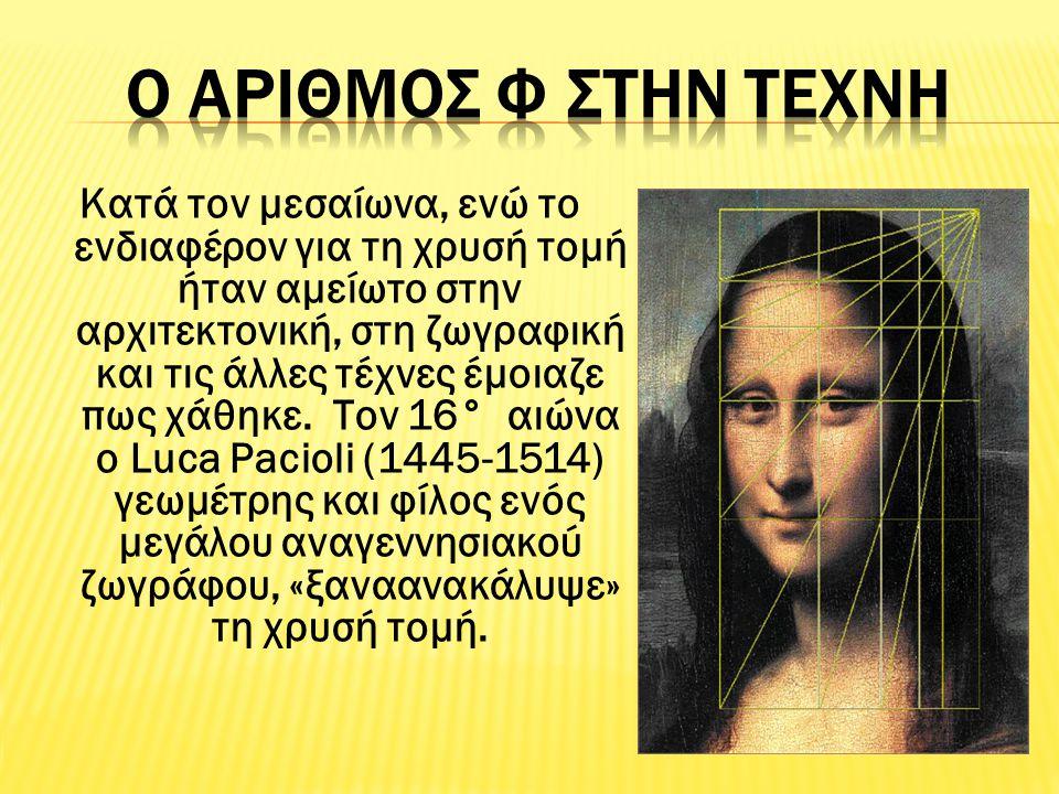 Ο Leonardo Da Vinci είχε δείξει ένα ένθερμο ενδιαφέρον για τα μαθηματικά της τέχνης και της φύσης.