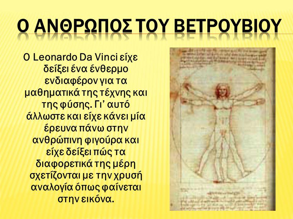 Ο Leonardo Da Vinci είχε δείξει ένα ένθερμο ενδιαφέρον για τα μαθηματικά της τέχνης και της φύσης. Γι' αυτό άλλωστε και είχε κάνει μία έρευνα πάνω στη