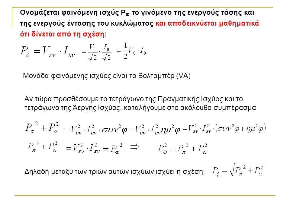 Ονομάζεται φαινόμενη ισχύς P Φ το γινόμενο της ενεργούς τάσης και της ενεργούς έντασης του κυκλώματος και αποδεικνύεται μαθηματικά ότι δίνεται από τη σχέση: Μονάδα φαινόμενης ισχύος είναι το Βολταμπέρ (VΑ) Αν τώρα προσθέσουμε το τετράγωνο της Πραγματικής Ισχύος και το τετράγωνο της Άεργης Ισχύος, καταλήγουμε στο ακόλουθο συμπέρασμα Δηλαδή μεταξύ των τριών αυτών ισχύων ισχύει η σχέση: