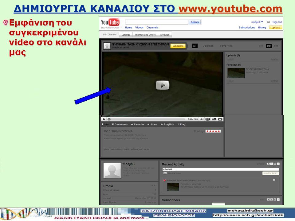 ΔΗΜΙΟΥΡΓΙΑ ΚΑΝΑΛΙΟΥ ΣΤΟ www.youtube.com www.youtube.com Εισαγωγή του video στα αγαπημένα του καναλιού