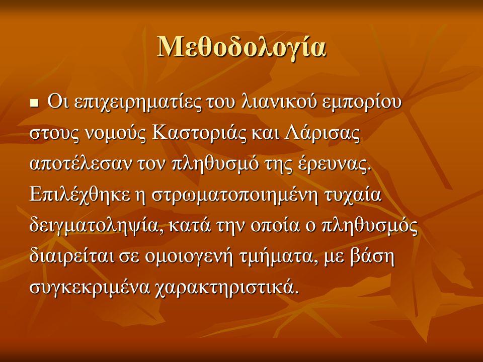 Μεθοδολογία Οι επιχειρηματίες του λιανικού εμπορίου Οι επιχειρηματίες του λιανικού εμπορίου στους νομούς Καστοριάς και Λάρισας αποτέλεσαν τον πληθυσμό της έρευνας.