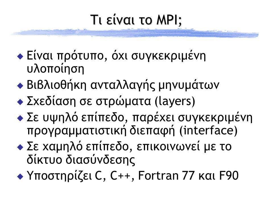 Τι είναι το MPI;  Είναι πρότυπο, όχι συγκεκριμένη υλοποίηση  Βιβλιοθήκη ανταλλαγής μηνυμάτων  Σχεδίαση σε στρώματα (layers)  Σε υψηλό επίπεδο, παρέχει συγκεκριμένη προγραμματιστική διεπαφή (interface)  Σε χαμηλό επίπεδο, επικοινωνεί με το δίκτυο διασύνδεσης  Υποστηρίζει C, C++, Fortran 77 και F90