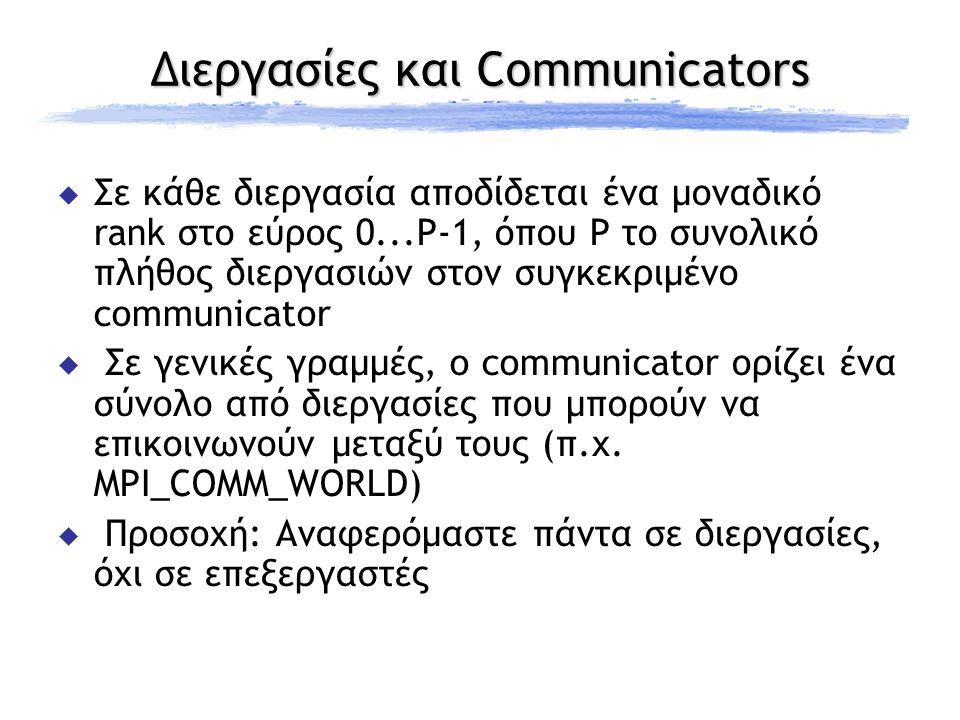 Διεργασίες και Communicators  Σε κάθε διεργασία αποδίδεται ένα μοναδικό rank στο εύρος 0...P-1, όπου P το συνολικό πλήθος διεργασιών στον συγκεκριμένο communicator  Σε γενικές γραμμές, o communicator ορίζει ένα σύνολο από διεργασίες που μπορούν να επικοινωνούν μεταξύ τους (π.χ.