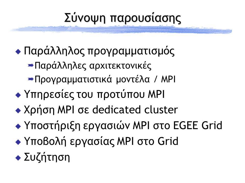 Υλοποιήσεις MPI  MPICH http://www-unix.mcs.anl.gov/mpi/mpich  MPICH2 http://www-unix.mcs.anl.gov/mpi/mpich2  MPICH-GM http://www.myri.com/scs  LAM/MPI http://www.lam-mpi.org  LA-MPI http://public.lanl.gov/lampi  Open MPI http://www.open-mpi.org  SCI-MPICH http://www.lfbs.rwth-aachen.de/users/joachim/SCI-MPICH  MPI/Pro http://www.mpi-softtech.com  MPICH-G2 http://www3.niu.edu/mpi
